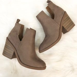 BRAND NEW Taupe Cut Out Booties